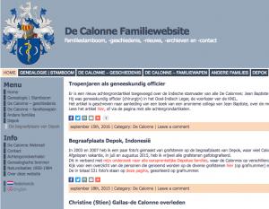 Voorbeeld van een websites over een familie